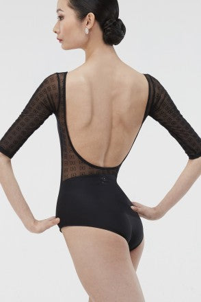 Wear Moi Flocked Mesh 3/4 Sleeve Leotard - Limited Edition