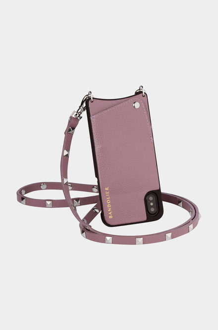 Bandolier Leather Crossbody Phone Case for iPhone - Sarah Iris/Silver