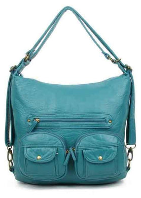 Convertible Crossbody Backpack-Teal-Ampere Creations