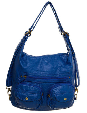Royal Blue Vegan Leather Purse and Backpack