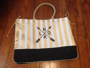Black and Gold, NOLA Arrow Tote Bag
