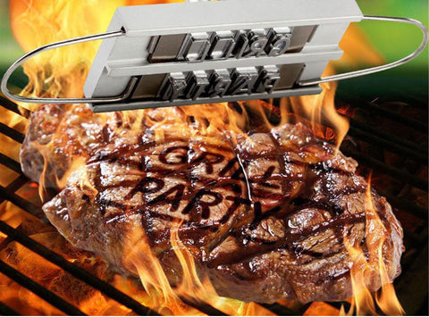 grilling and cook out branding iron for steaks with grill party brand