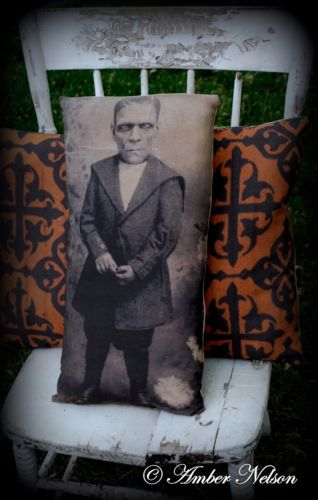 Halloween young frankenstein photo pillow party decor old antique old primitive