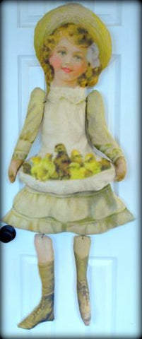 Victorian antique primitive Easter Girl apron spring chicks chicken door doll