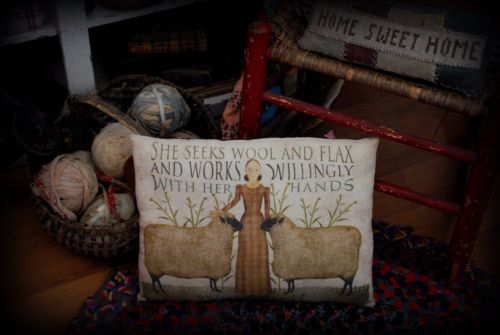 Primitive sheep lamb works her hands in wool flax pillow proverbs calico dress