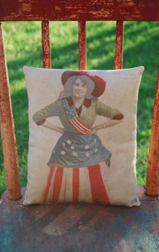 Early photo lady in flag costume pillow 4th of July patriotic dress American