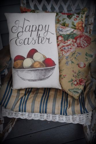 Easter Spring Eggs Happy Pillow primitive bowl welcome sign Rabbit Chicken