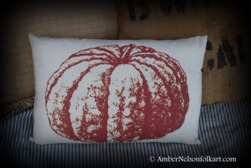 Harvest Pumpkin brown gourd fall Halloween porch bench pillow decor primitive