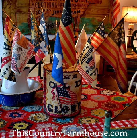 HUGE old Glory flag can with display flags multi media art 4th of July Memorial Day patriotic