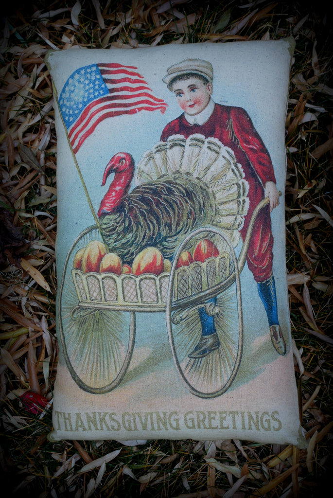 Thanksgiving Day vintage antique boy turkey cart throw pillow farmhouse decor