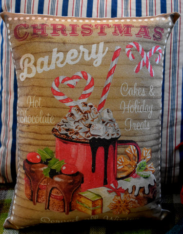 Christmas bakery kitchen decor pillow candy cane cake pies sign advertisement