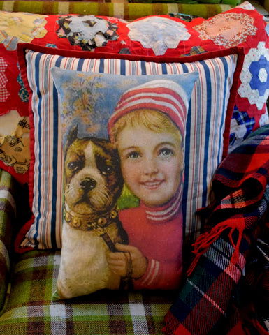 Antique Christmas sweater boy boxer pit bull dog pillow