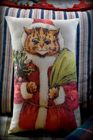 MEOWY Christmas tabby cat Santa Claus Antique vintage design kitty throw pillow