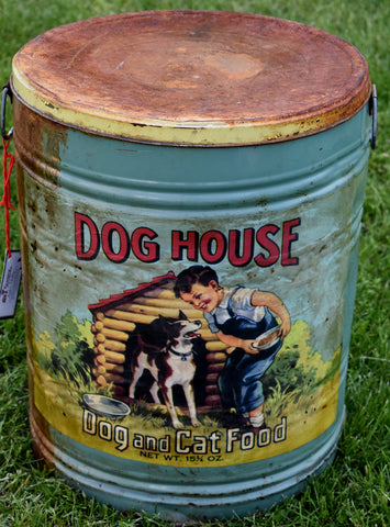 Big dog cat food Tin Can storage vintage old retro inspired