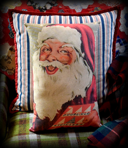Vintage antique Christmas tinsel sign Santa claus advertisement throw pillow