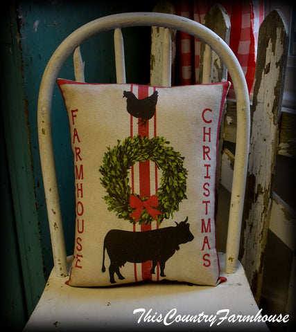 Farmhouse Christmas chicken cow grain sack wreath throw pillow