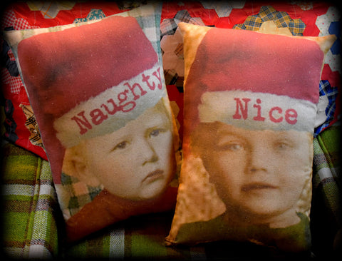 Naughty Nice Primitive funny clip art Christmas pillow set