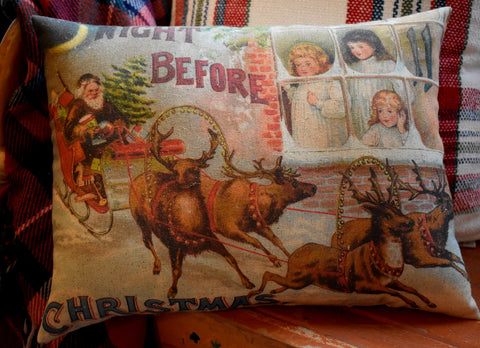 The Night Before Christmas Old world early look Santa sleigh reindeer throw pillow