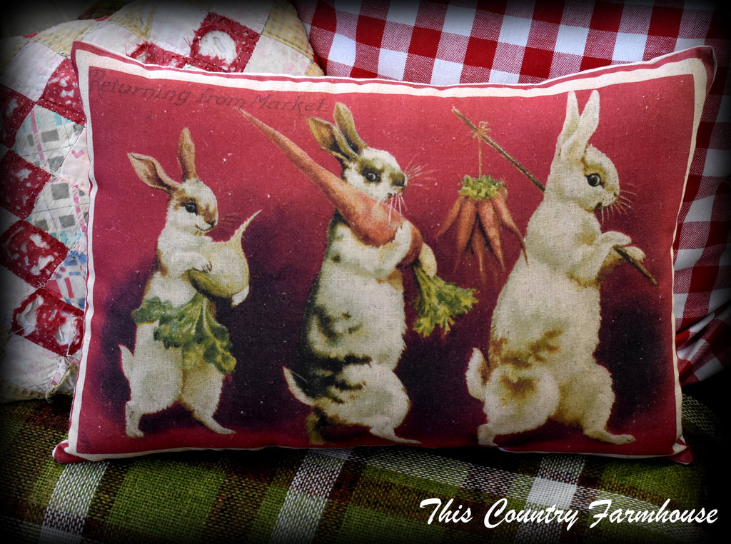 Rabbits with vegetables Garden or Easter pillow Returning from Market