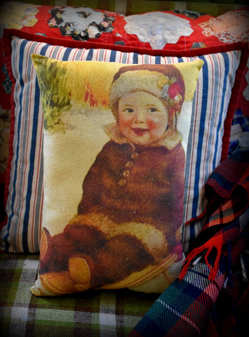 Victorian antique baby on Christmas sled smiling shabby portrait cottage pillow