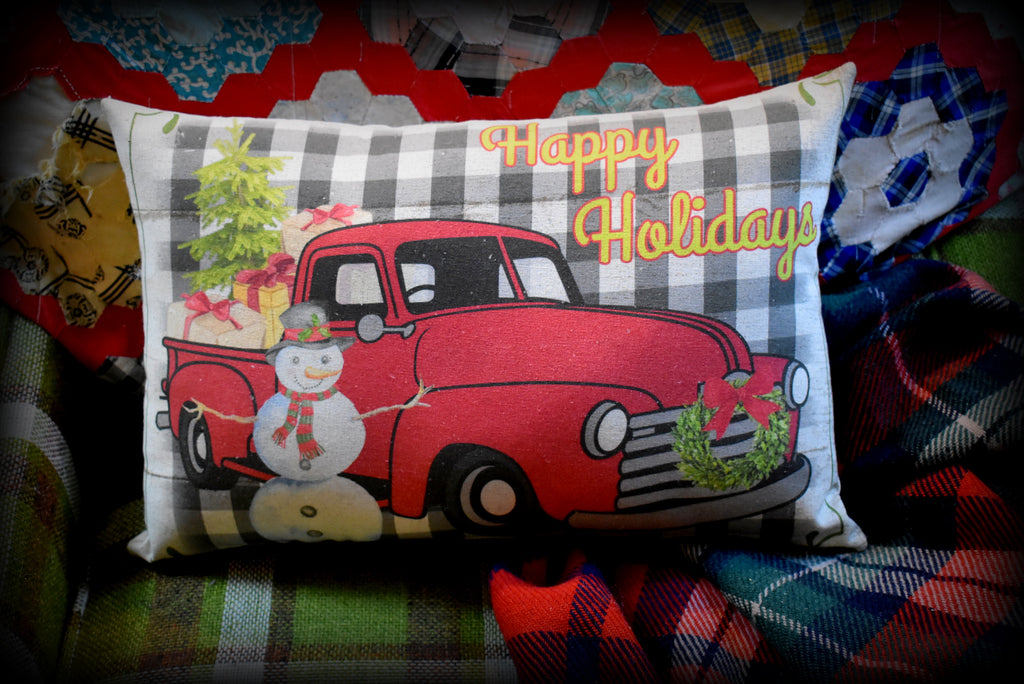 Christmas gift Happy Holidays Farm truck with snowman throw pillow