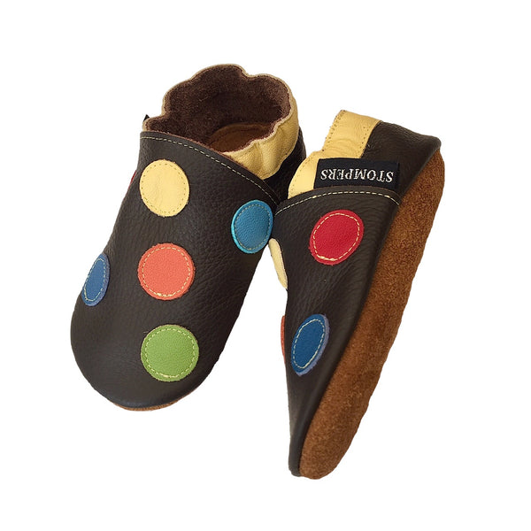 Chocolate yellow spotty shoes sole