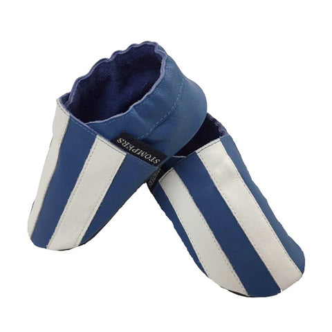 Cobalt White Stripe Baby Shoes Side View