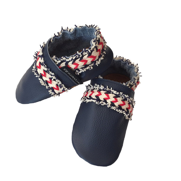 Navy leather boho baby shoes side
