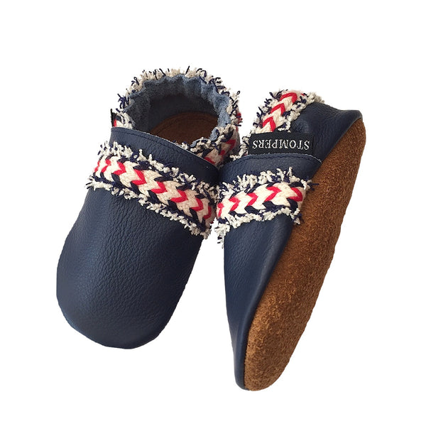 Navy leather boho baby shoes sole