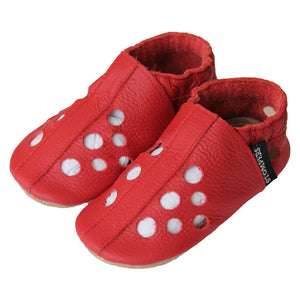 Red leather toddler sandals