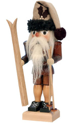 "Nutcracker - Skier (Natural) - 10.5""H x 4""W x 4.5""D - German Cuckoo Clocks"