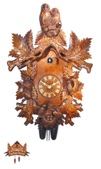 8-Day Musical Carved Clock 2 Owls 21.65 inches - German Cuckoo Clocks