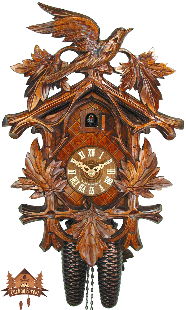 Cuckoo Clock 8-day-movement Carved-Style 38cm by August Schwer - German Cuckoo Clocks