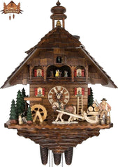 8 Day Musical Chalet Clock Horse Bell Tower 27.2 inches - German Cuckoo Clocks