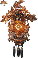 8-Day Musical Carved Clock Fox and Grapevine, 24inch - German Cuckoo Clocks