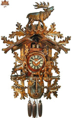 8 Day Musical Carved Clock Calling Stag 35 inches - German Cuckoo Clocks