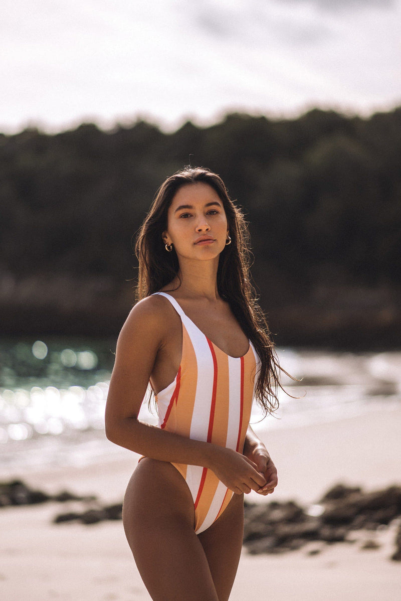 CORA ONE PIECE (PEACH STRIPE)