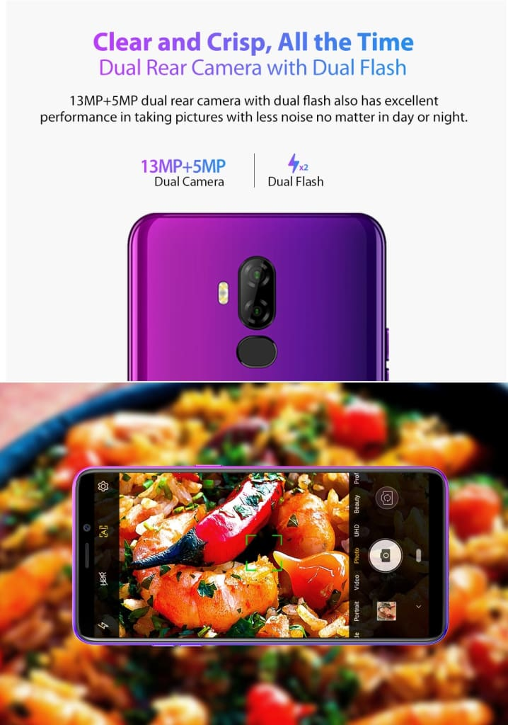 Ulefone P6000 Plus Android 9.0 6350mAh Smartphone 6.0inch Face ID HD+ Dual Camera Ouad Core Face ID 4G LTE Mobile phone