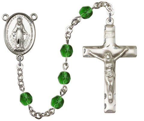 Brass Rosary with 6mm Emerald Beads