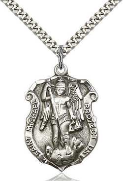 silver st michael medal on chain for police officers