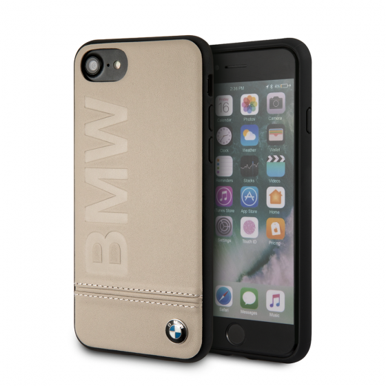 BMW iPhone 8 & iPhone 7 Taupe Genuine Leather Hard Case