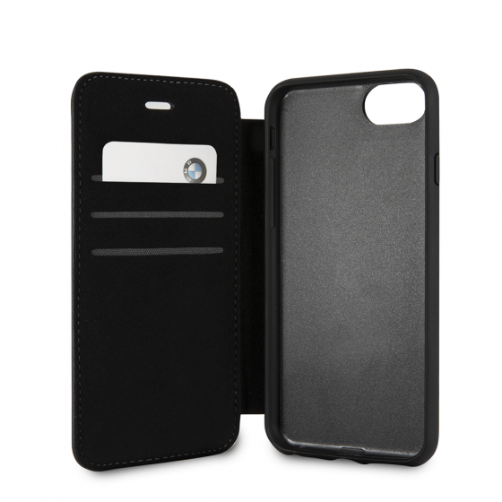 BMW iPhone 8 & iPhone 7 Black Genuine Leather Hard booktype Case