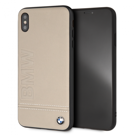 iPhone XS Max BMW Taupe Genuine Leather Rigid Case