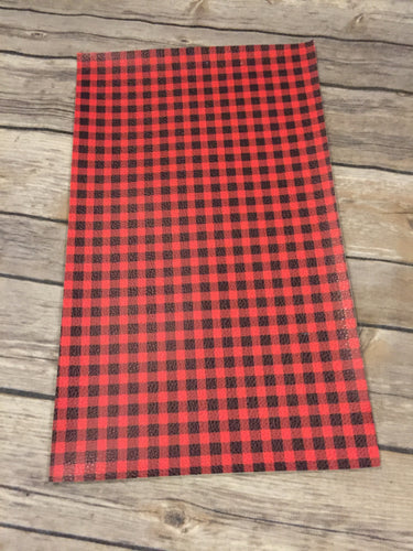 Faux Leather  Litchi Red Buffalo Plaid - small print
