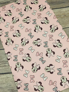 Faux Leather   Minnie Pink Background  with Bows