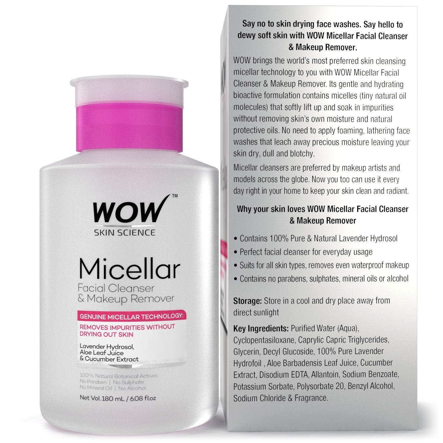 WOW Skin Science Micellar Water Facial Cleanser & Makeup Remover