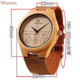 Bamboo Wood Watch Men Women Watches Fashion Genuine Leather Wooden Watch
