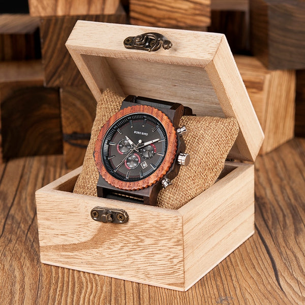 51mm Big Size Men Watch BOBO BIRD relogio masculino Wooden Quartz Top Luxury Watches for Dad Gift reloj mujer Accept Logo