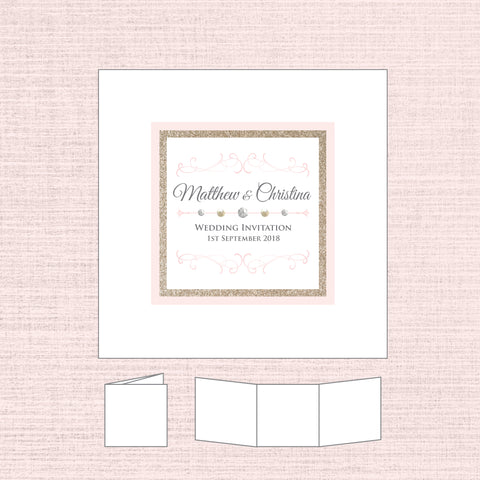 Grace - Glitter Tri-fold Invitation