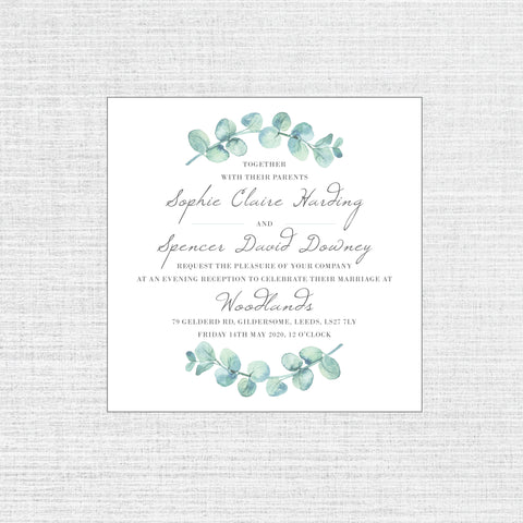 Eucalyptus - Square flat invitation